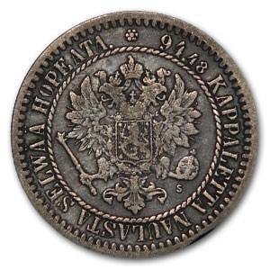 1865 Finland Markka Silver Alexander II VF