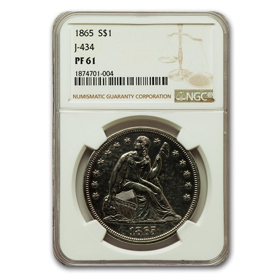1865 Liberty Seated Dollar PF-61 NGC (J-434)