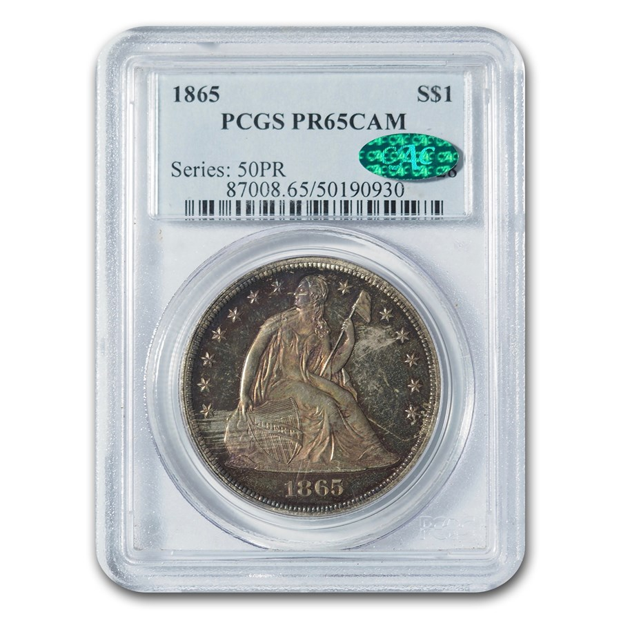 1865 Liberty Seated Dollar PR-65 Cameo PCGS CAC