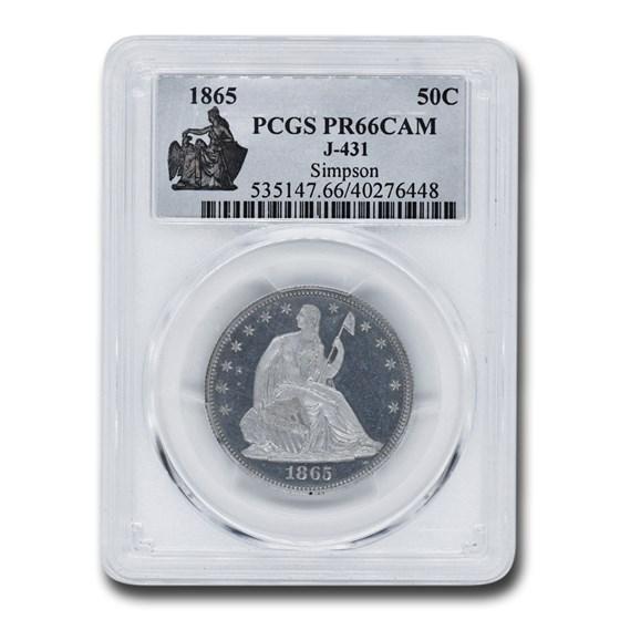 1865 Liberty Seated Half Dollar Pattern PR-66 Cameo PCGS (J-431)