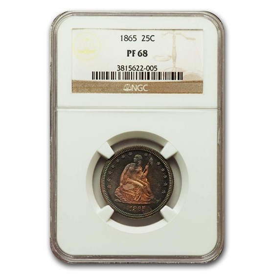 1865 Liberty Seated Quarter PF-68 NGC