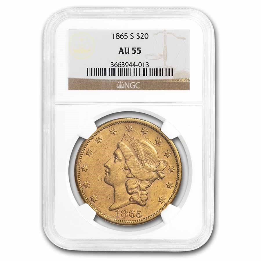 1865-S $20 Liberty Gold Double Eagle AU-55 NGC