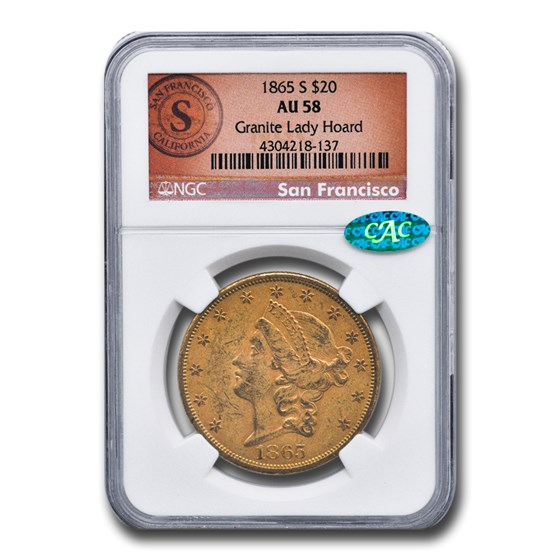 1865-S $20 Liberty Gold Double Eagle AU-58 NGC CAC