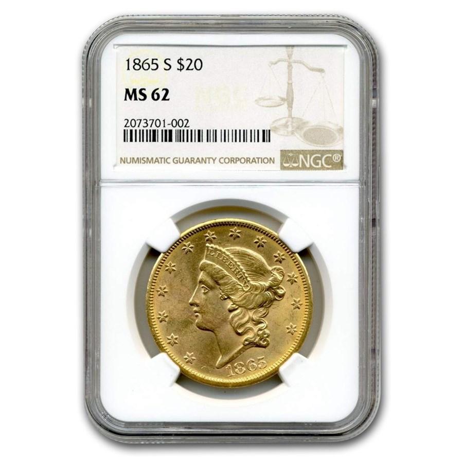 1865-S $20 Liberty Gold Double Eagle MS-62 NGC