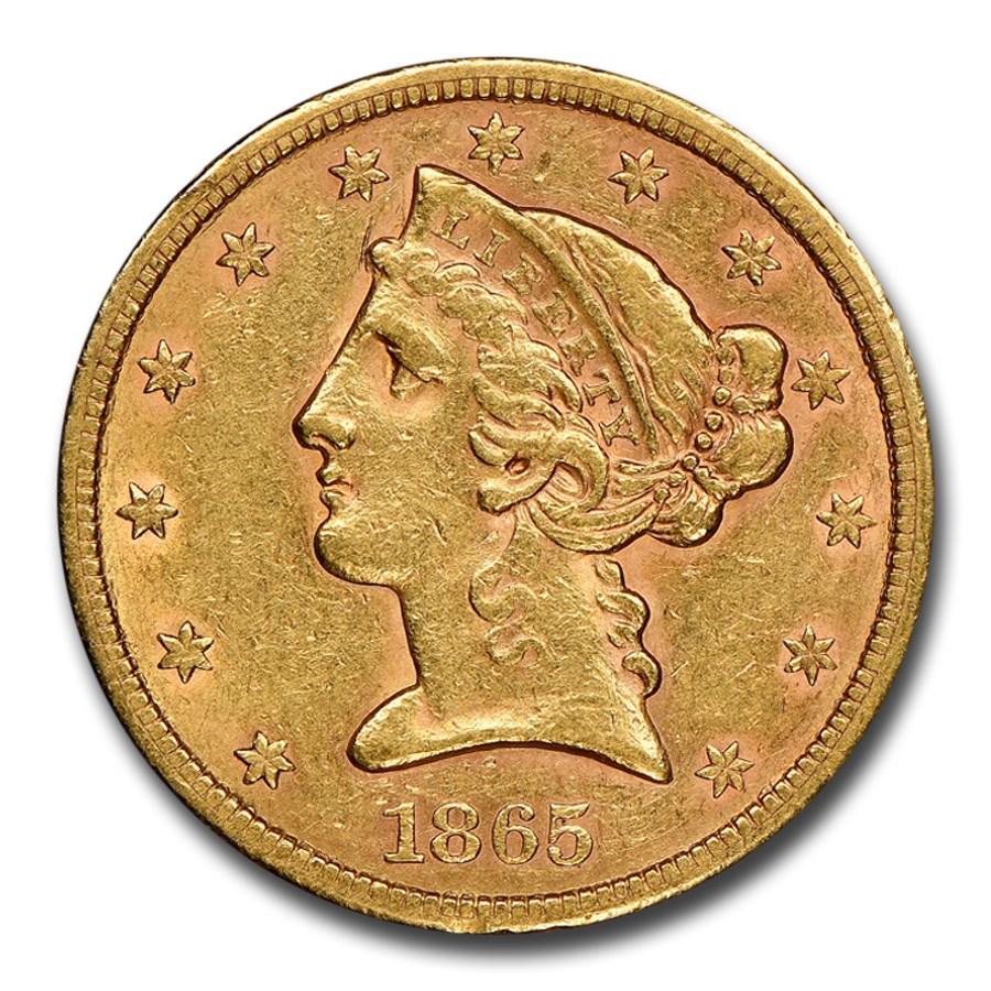 1865-S $5 Liberty Gold Half Eagle AU-53 NGC
