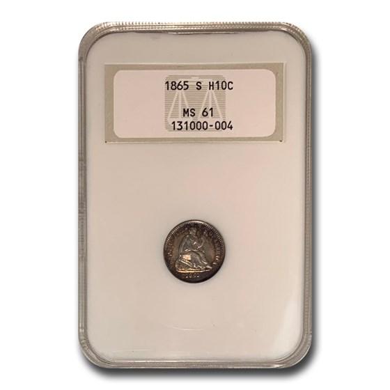 1865-S Liberty Seated Half Dime MS-61 NGC