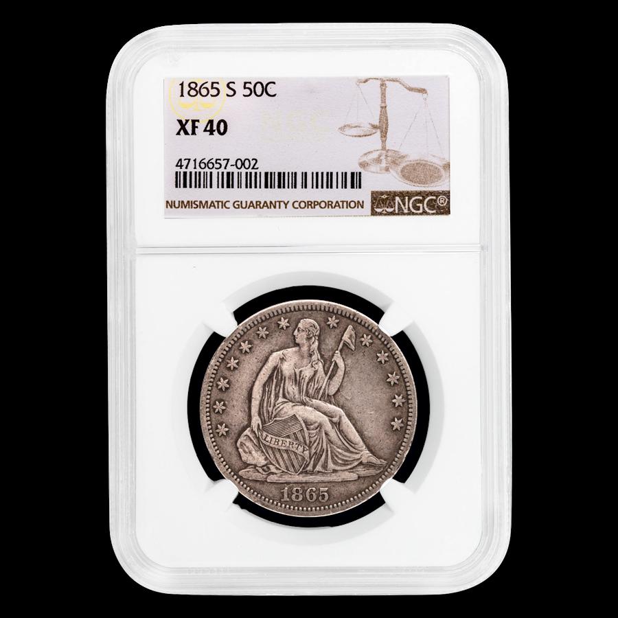 1865-S Liberty Seated Half Dollar XF-40 NGC