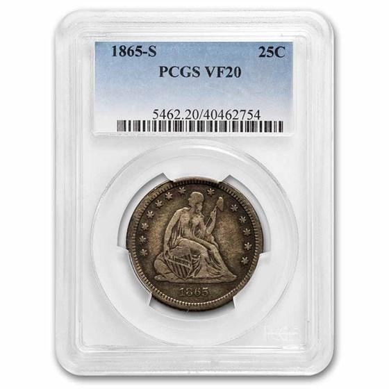 1865-S Liberty Seated Quarter VF-20 PCGS