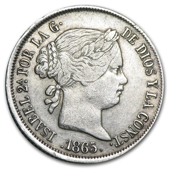 1865 Spain Silver 40 Centimos XF