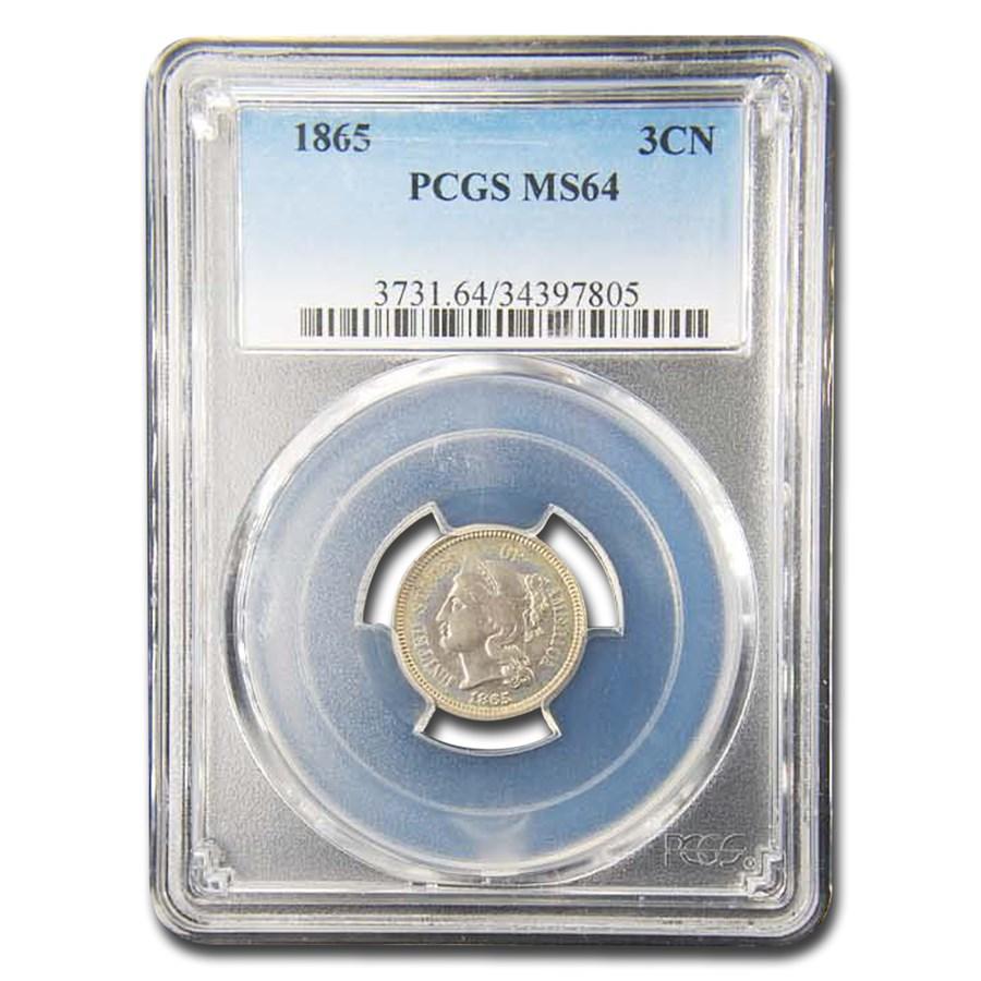 1865 Three Cent Nickel MS-64 PCGS