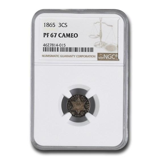 1865 Three Cent Silver PF-67 Cameo NGC