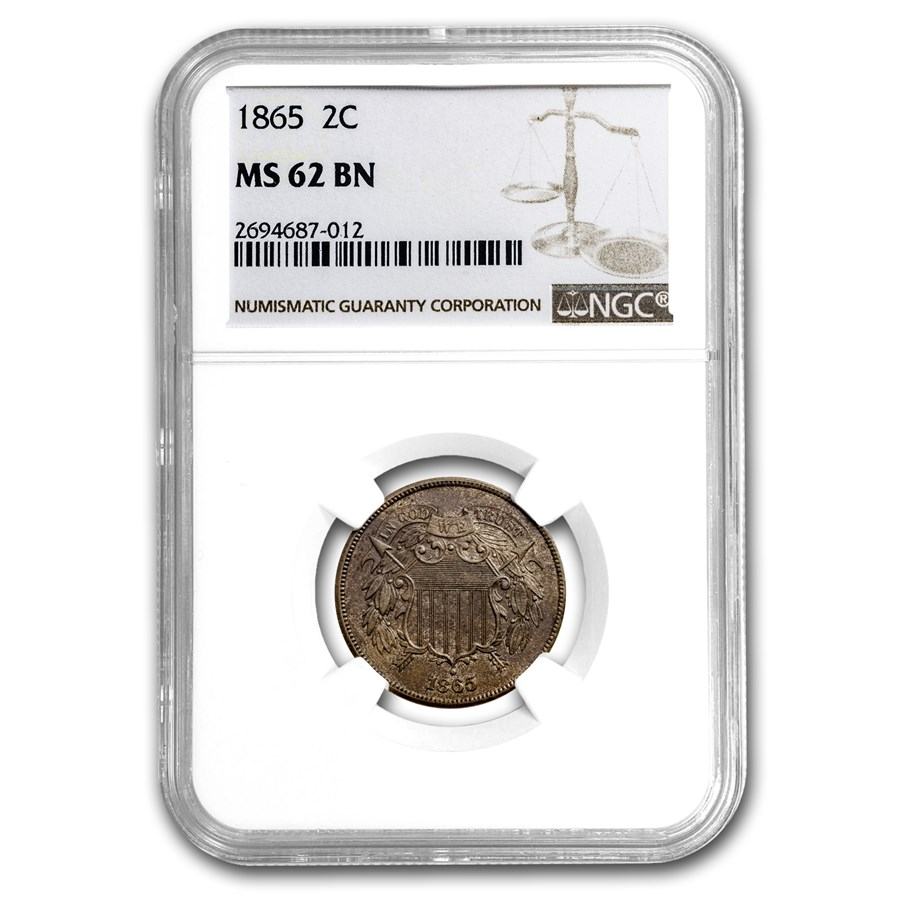 1865 Two Cent Piece MS-62 NGC (Brown)