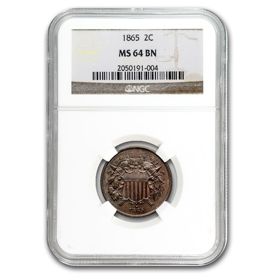 1865 Two Cent Piece MS-64 NGC (Brown)