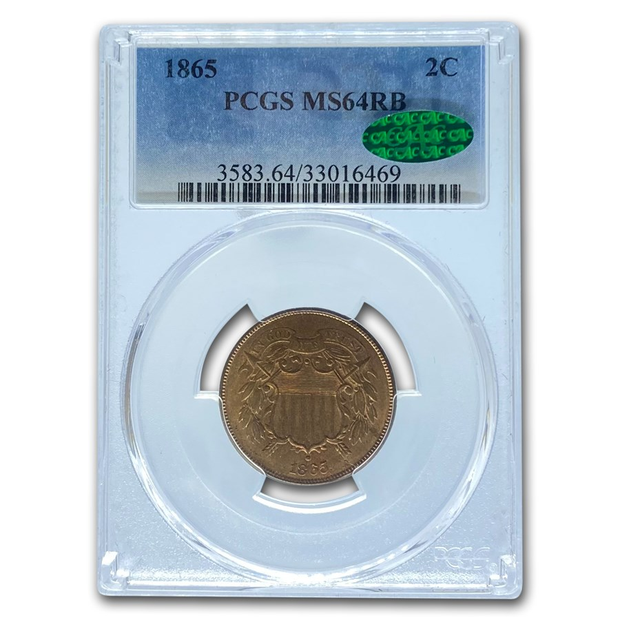 1865 Two Cent Piece MS-64 PCGS CAC (Red/Brown)