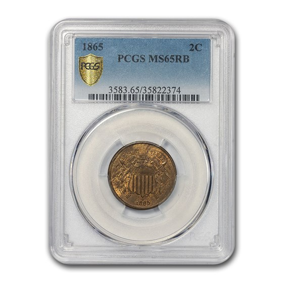 1865 Two Cent Piece MS-65 PCGS (Red/Brown)