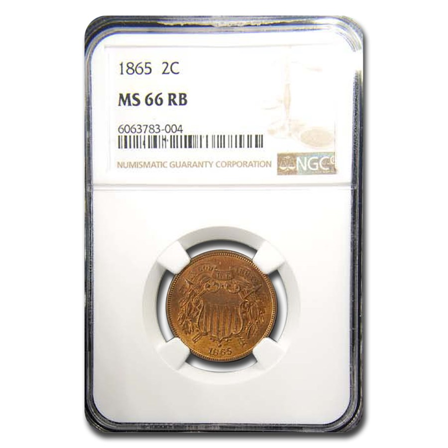 1865 Two Cent Piece MS-66 NGC (Red/Brown)