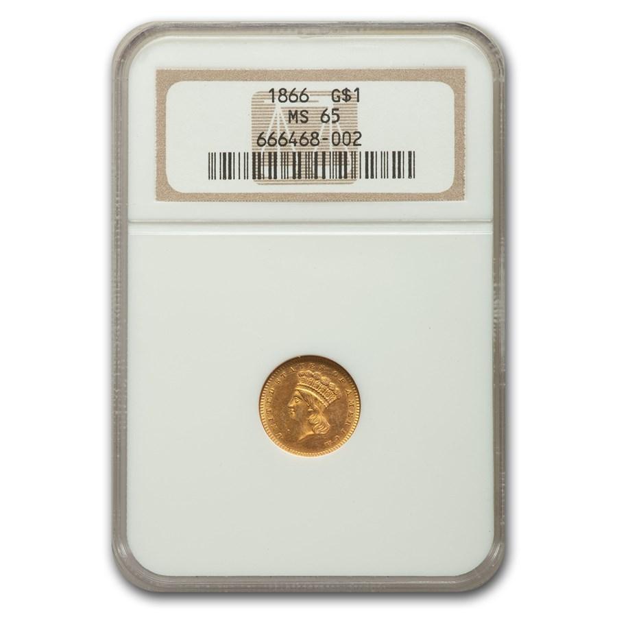 1866 $1 Indian Head Gold Dollar MS-65 NGC