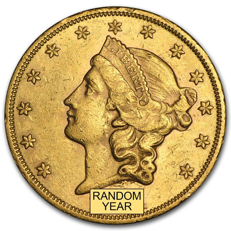 1866-1876 $20 Liberty Gold Double Eagle Type 2 AU
