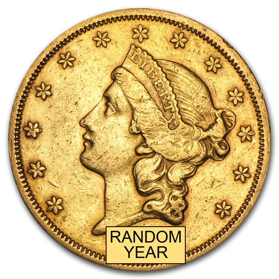 1866-1876 $20 Liberty Gold Double Eagle Type 2 XF