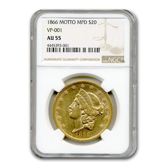 1866 $20 Liberty Gold Double Eagle AU-55 NGC (w/Motto)