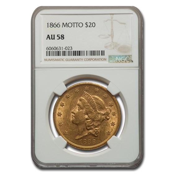 1866 $20 Liberty Gold Double Eagle w/Motto AU-58 NGC