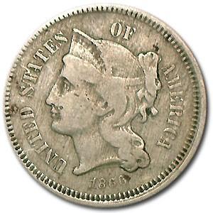 1866 3 Cent Nickel Fine