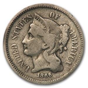 1866 3 Cent Nickel VG