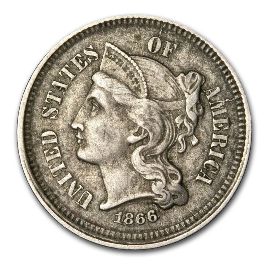1866 3 Cent Nickel XF