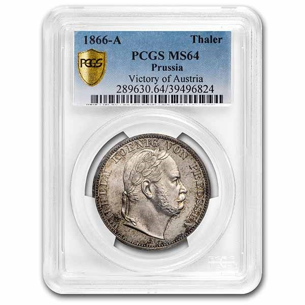 1866-A German States Prussia Silver Thaler Wilhelm I MS-64 PCGS
