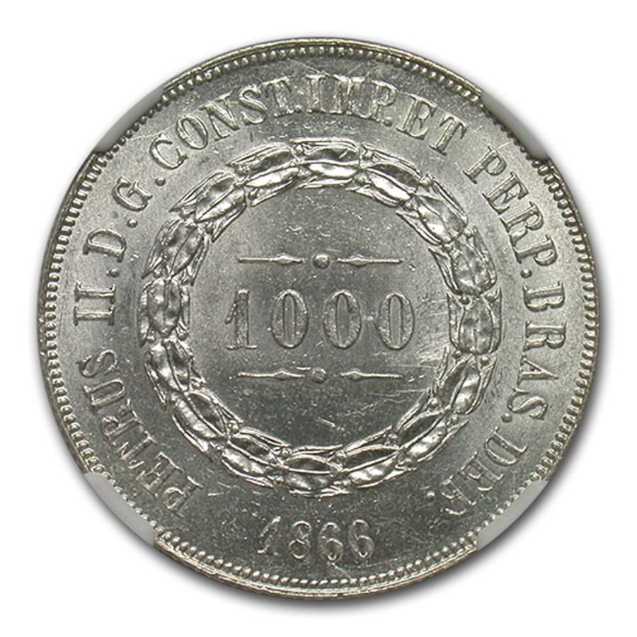1866 Brazil Silver 1000 Reis Pedro II MS-64 NGC