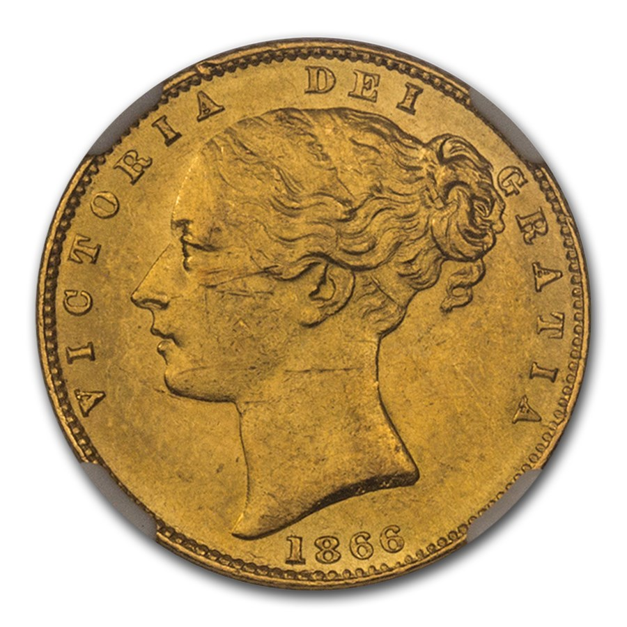 1866 Great Britain Gold Sovereign Victoria Shield MS-63 NGC