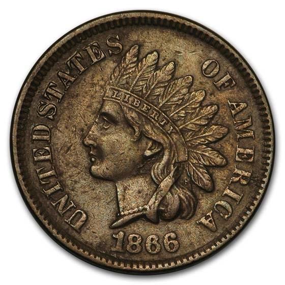 1866 Indian Head Cent AU