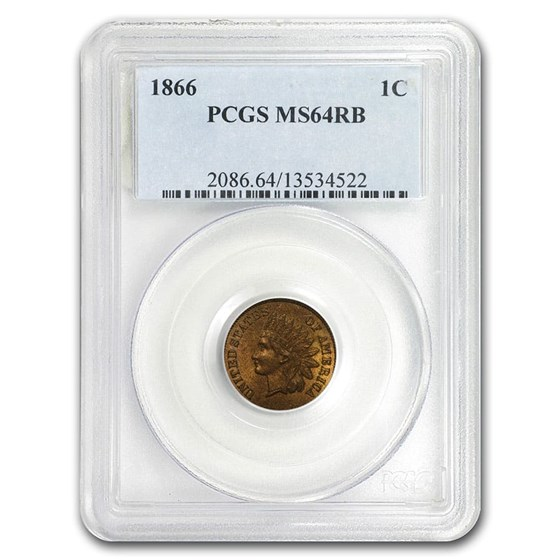1866 Indian Head Cent MS-64 PCGS (Red/Brown)