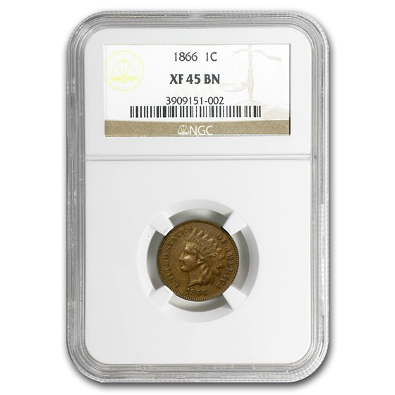 1866 Indian Head Cent XF-45 NGC