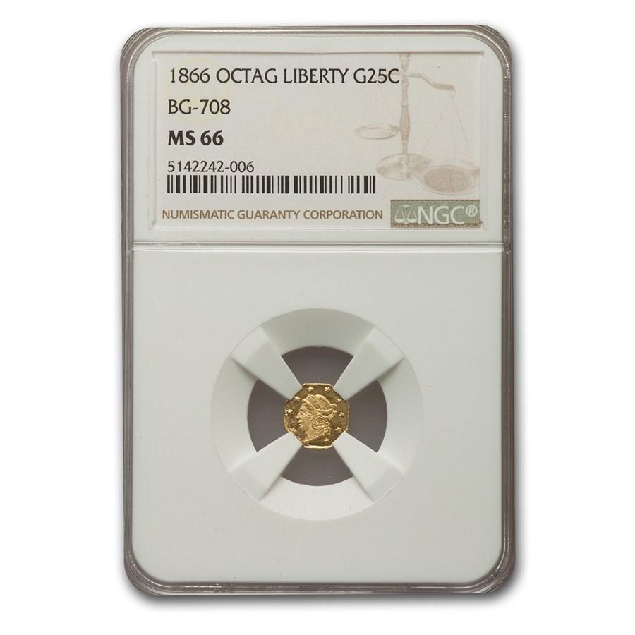 1866 Liberty Octagonal 25 Cent Gold MS-66 NGC (BG-708)