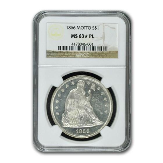 1866 Liberty Seated Dollar MS-63* NGC (PL, Motto)