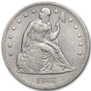 1866 Liberty Seated Dollar XF Details (Cleaned)