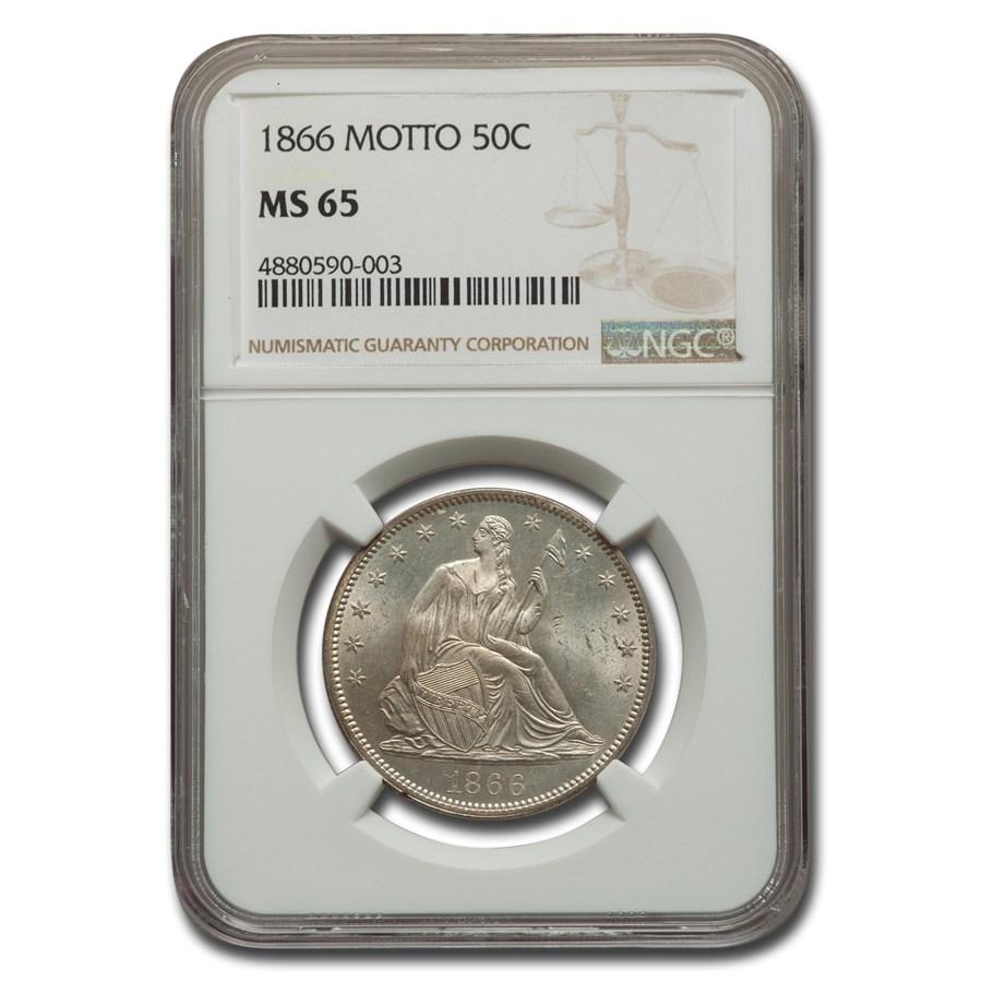 1866 Liberty Seated Half Dollar MS-65 NGC (Motto)