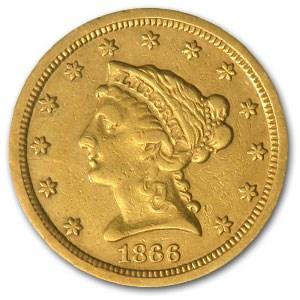 1866-S $2.50 Liberty Gold Quarter Eagle AU Details (Cleaned)