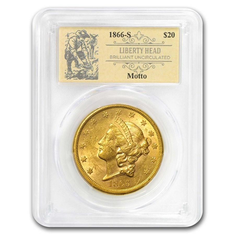 1866-S $20 Lib Gold Dble Eagle BU PCGS Motto (Prospector Label)