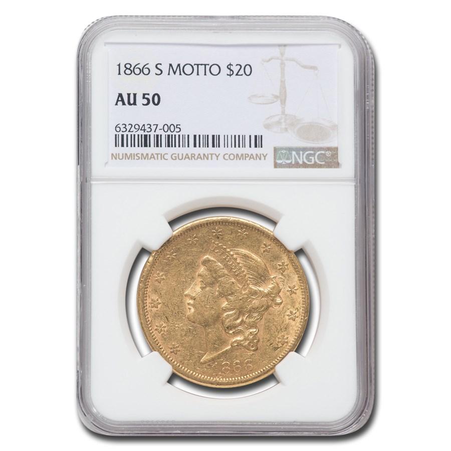 1866-S $20 Liberty Gold Double Eagle AU-50 NGC (Motto)
