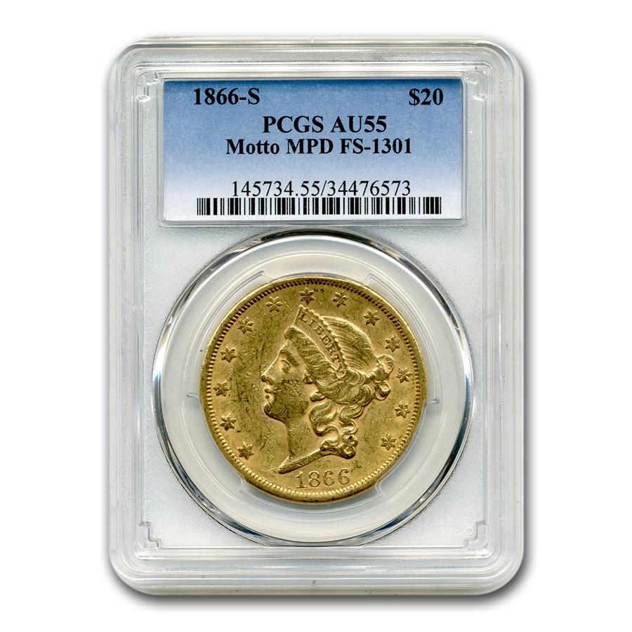 1866-S $20 Liberty Gold Double Eagle AU-55 PCGS (Motto MPD)