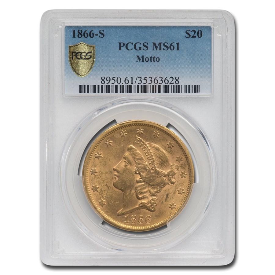1866-S $20 Liberty Gold Double Eagle MS-61 PCGS (Motto)