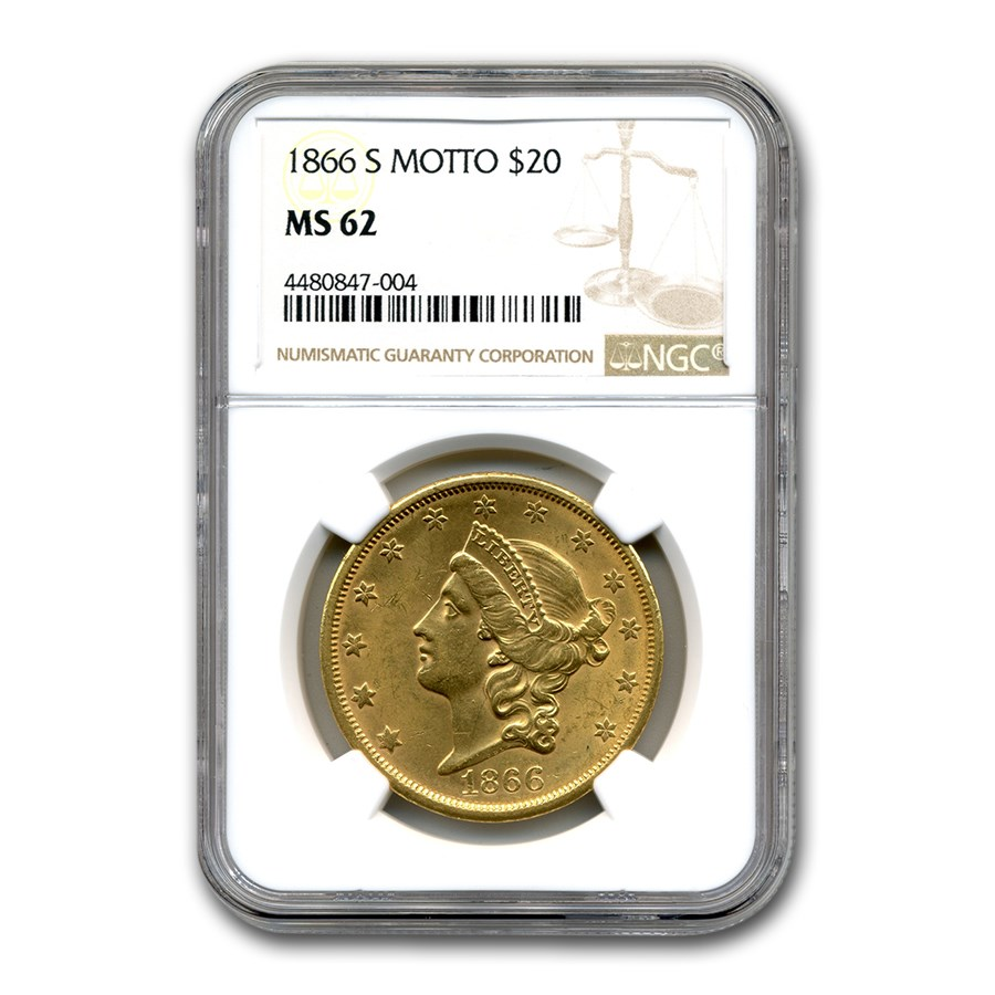 1866-S $20 Liberty Gold Double Eagle MS-62 NGC (Motto)