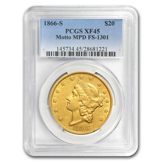 1866-S $20 Liberty Gold Double Eagle XF-45 PCGS (w/Motto, MPD)