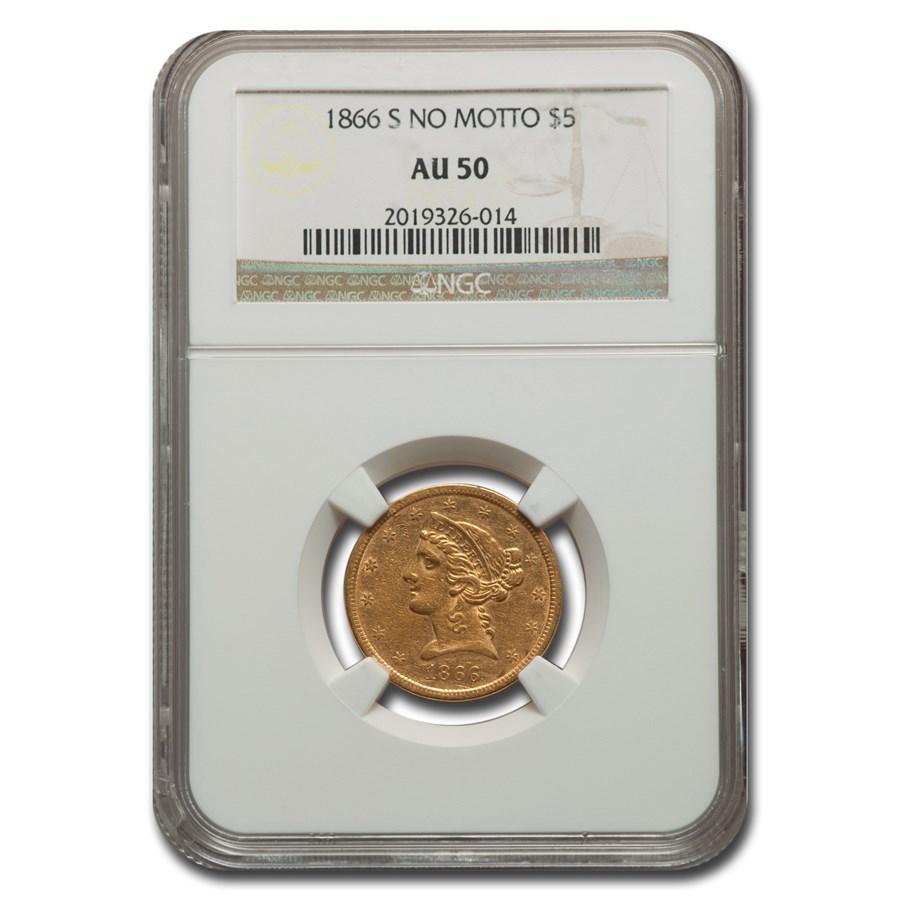 1866-S $5 Liberty Gold Half Eagle AU-50 NGC (No Motto)