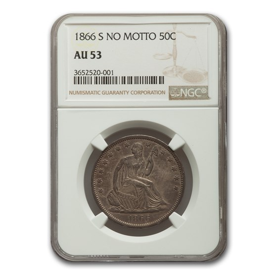 1866-S Liberty Seated Half Dollar AU-53 NGC (No Motto)