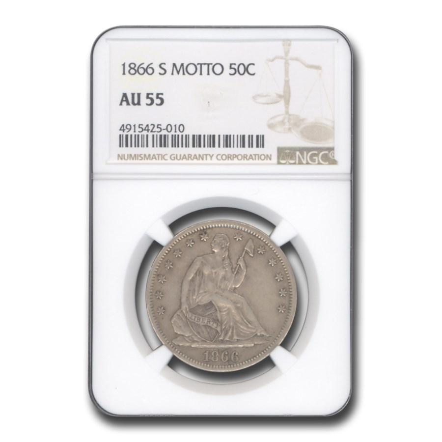 1866-S Liberty Seated Half Dollar AU-55 NGC (Motto)
