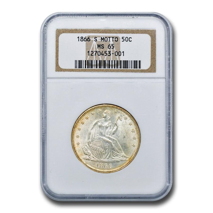 1866-S Liberty Seated Half Dollar MS-65 NGC (Motto)