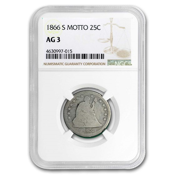 1866-S Liberty Seated Quarter AG-03 NGC (Motto)